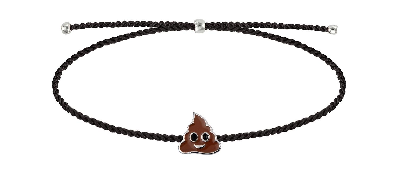Браслет Poop серебряный с эмалью на черной нити = SB074-012